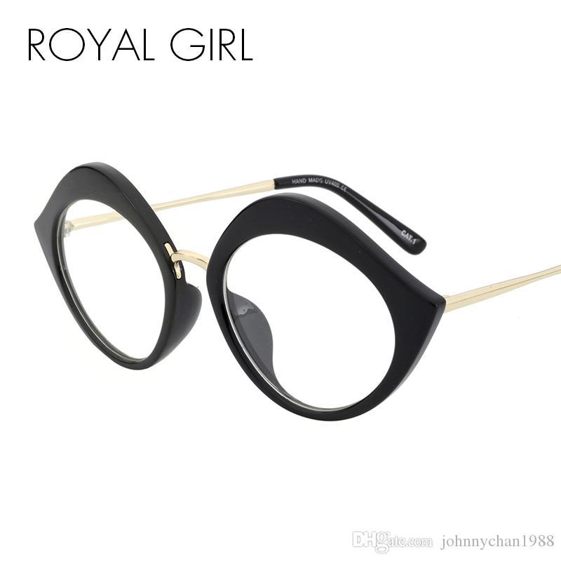 ROYAL GIRL Vintage Cat Eye Glasses Frame Women Metal Frame Clear ...