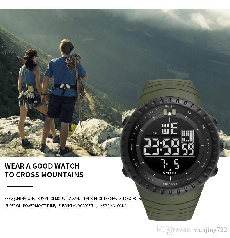 SMAEL мужчины Спорт на открытом воздухе электронный хронограф 2018 новые мужские часы большой циферблат цифровой 50 м водонепроницаемый цифровой светодиодные наручные часы