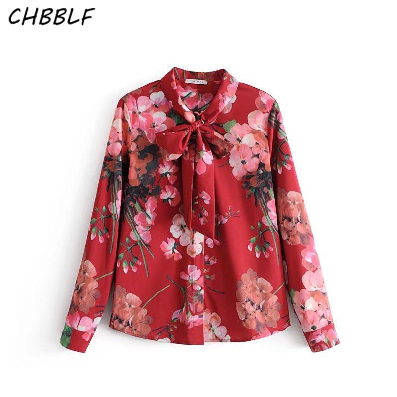 11bb77119bcb10 2019 Women Sweet Holiday Shirts Bow Tie Neck Long Sleeve Blouses Vintage  Ladies Casual Print Tops Blusas DFT27140 From Regine, $27.37 | DHgate.Com