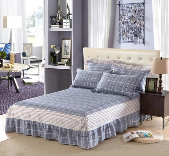 Gray Lattice 100 Cotton Bed Skirt Bedspread Mattress Cover Twin