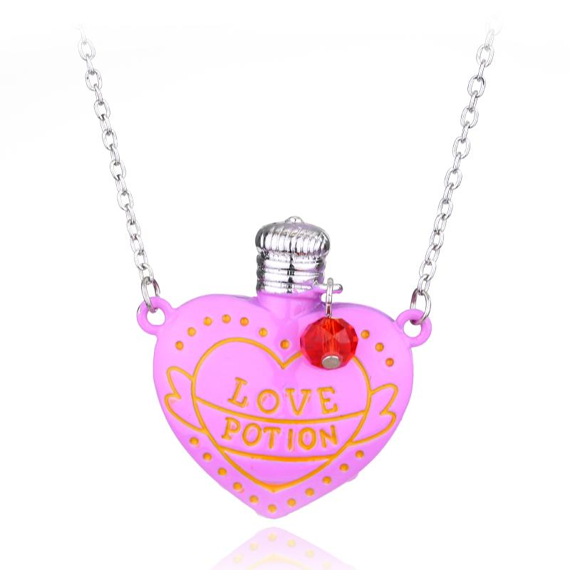 Fashion trend jewelry Hot Movie LOVE POTION Pink Heart Bottle Pendant Necklace Factory direct