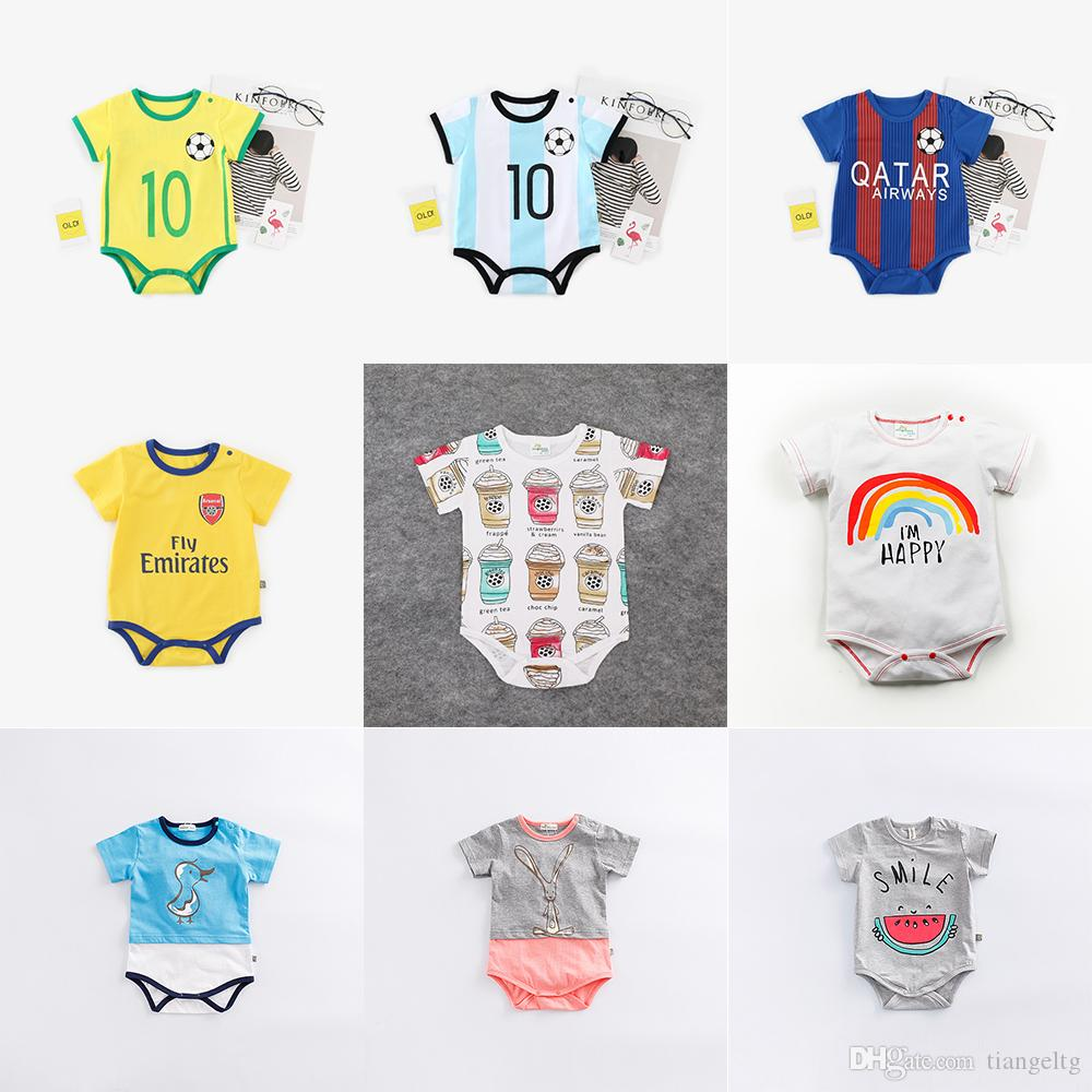 45f3915e7 2019 Baby Football Uniform Rompers Boy Girls World Cup Football Team Lion  Star Fly Jeep Newborn Infant Baby Kids Summer Clothes Outfits 0 12M From  Tiangeltg ...