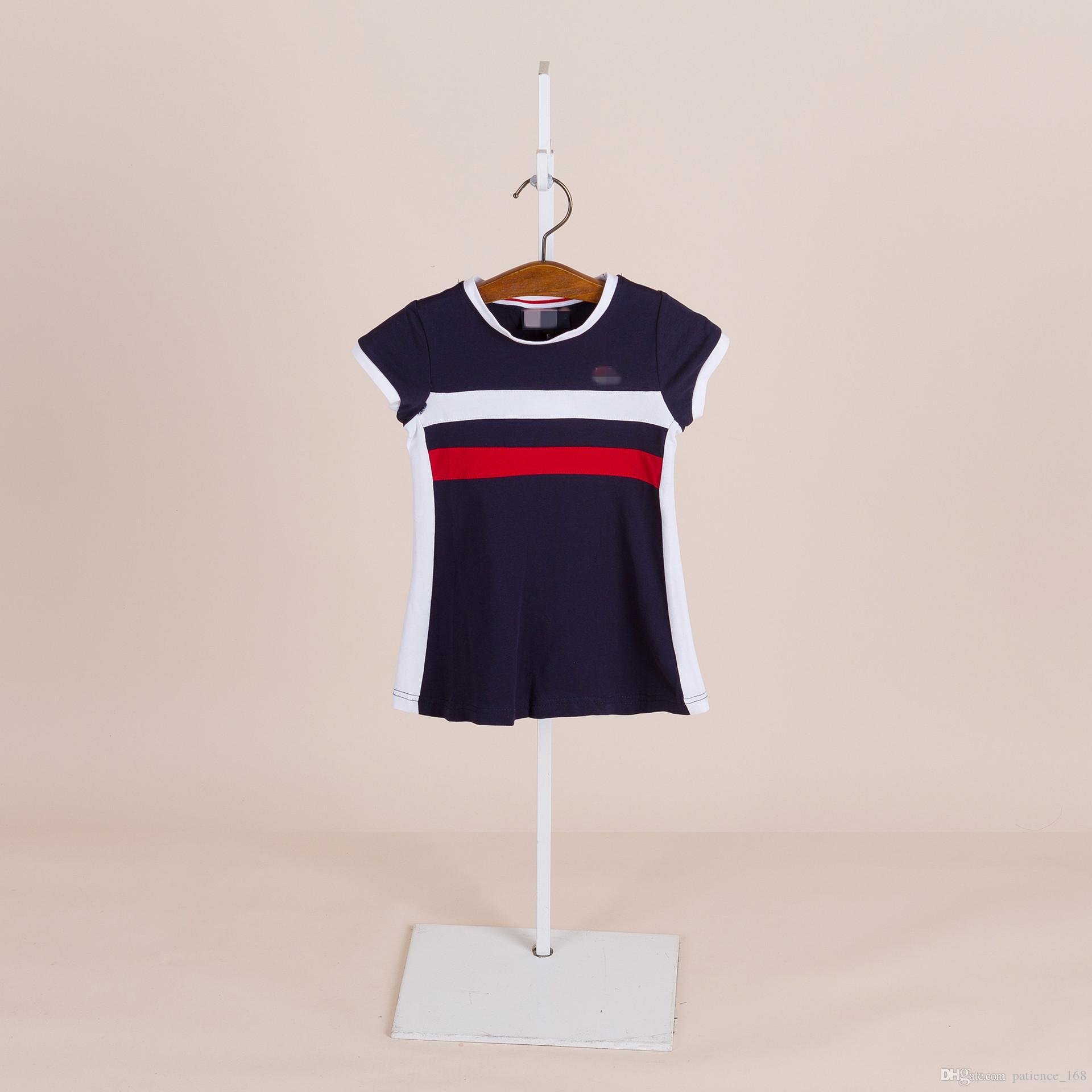 i 2018 estate europea e americana NUOVO arrivo ragazze bambini in puro cotone gonna a maglia da tennis bambini ragazza rotonda abito collare