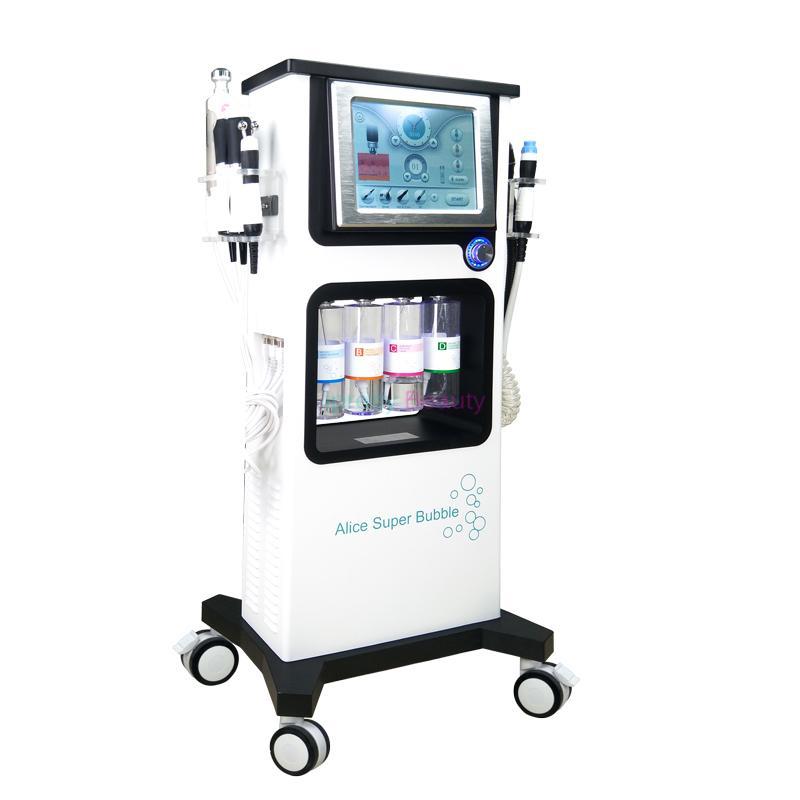 매직 플러스 이산화탄소 산소 RF와 초음파 얼굴 머신 7 1 산소 물 기계 하이 드라 얼굴 산소 스프레이 총 led 광선 치료 기계