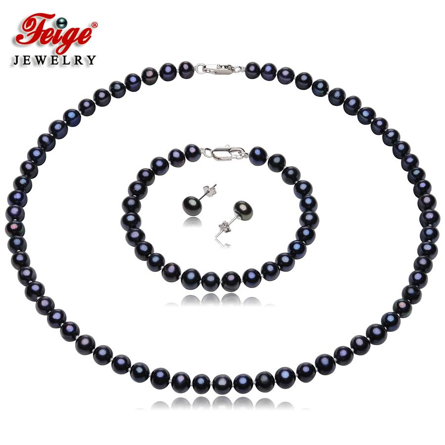 fdcae75995ca4f Vintage Black Pearl Necklace Jewelry Sets for Women Anniversary ...