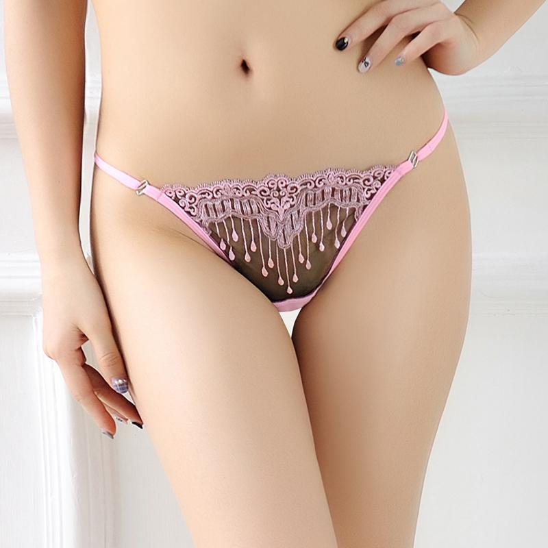 186ccc9ed 2019 Sexy Women Underwear Lace Briefs Erotic Floral Embroidery T Back See  Through Mesh Transparent Briefs Underwear For Women From Hsaiiou