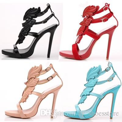 Hot Sell Women High Heel Sandals Gold Leaf Flame Gladiator Sandal Shoes  Party Dress Shoe Woman Patent Leather High Heels Wedges Espadrilles From ... 556d4e32b295