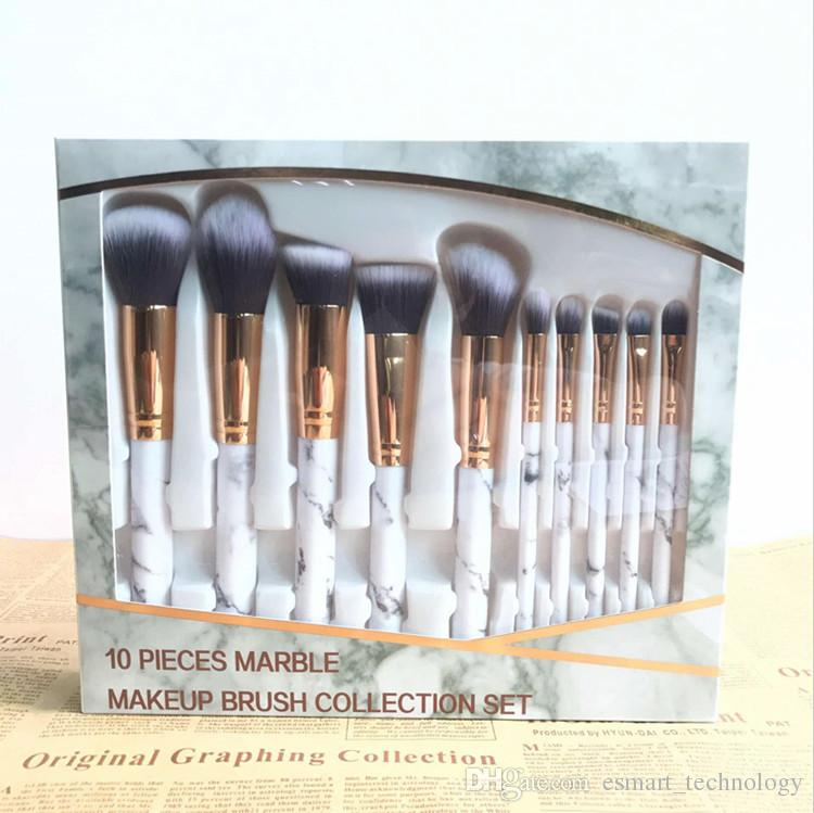7712f9b7575 Marble Makeup Brushes Sets Foundation Eyeshadow Powder Blush Make Up Brush  Set Pinceaux De Maquillage DHL Cosmetic Products Discount Cosmetics From ...