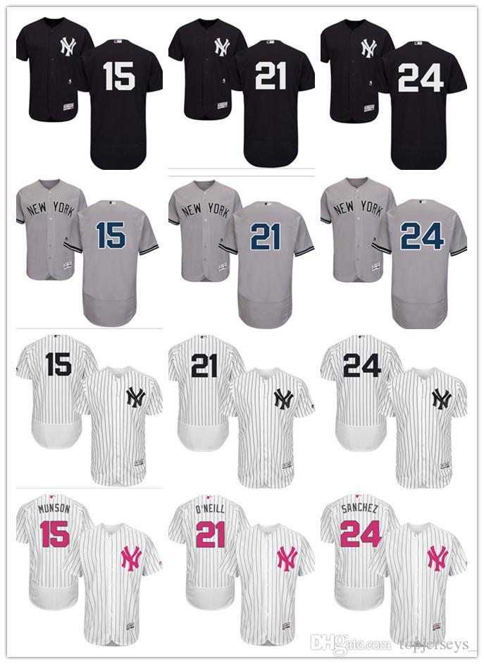 e12da589f 2019 2018 Custom Men Women Youth NY Yankees Jersey  15 Thurman Munson 21  Paul ONeill 24 Gary Sanchez Home Black White Grey Baseball Jerseys From ...