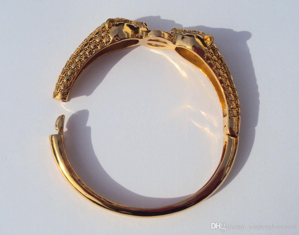 ليوبارد عيون سوداء 22K 23K 24K التايلاندية البات الأصفر الصلبة الدقيقة الصلبة الذهب GP مجوهرات الإسورة سوار الثقيلة 43G BA18