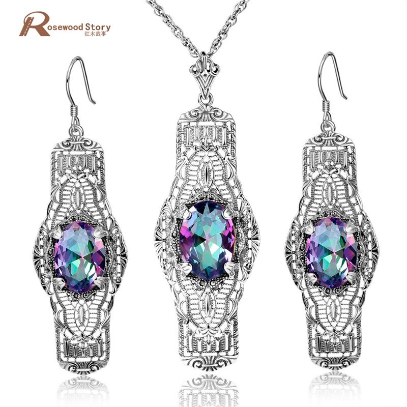 f22a7c45b68912 Wholesale Vintage Mystic Rainbow Crystal Fine Jewelry Set Women ...