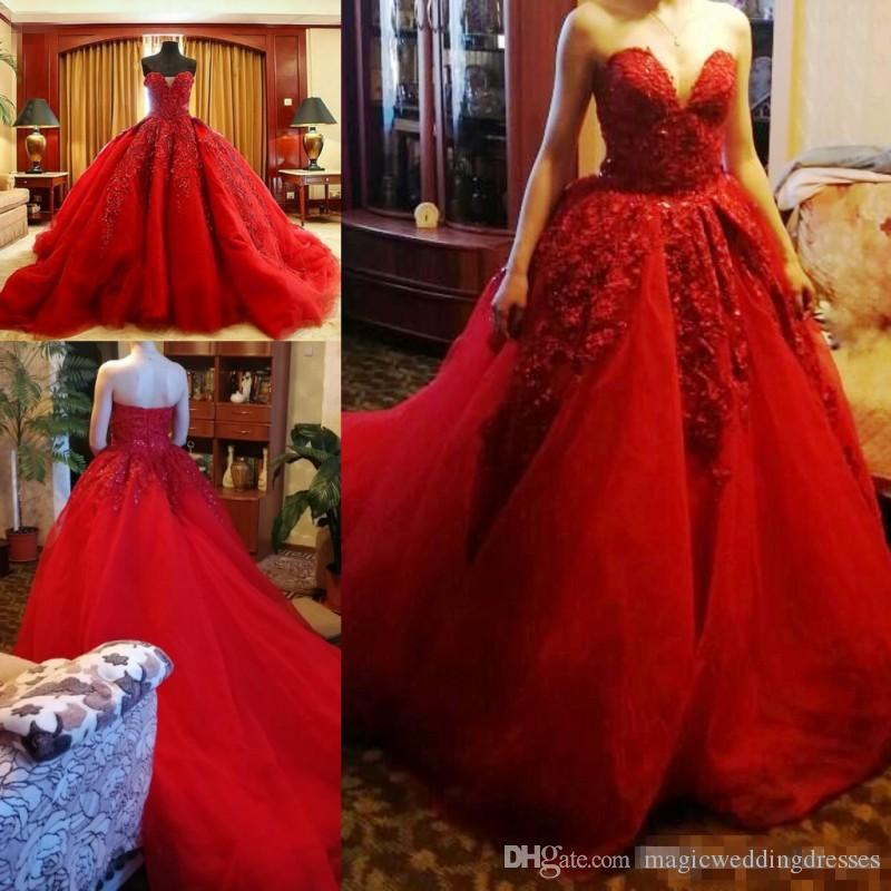 Red Ball Gown Prom Dresses Long Sexy Sweetheart Lace Appliques Bridal Formal  Wear Multi Layer Tulle Sweep Train Real Luxury Evening Dress Maternity  Evening ... b4dc7d2095f6