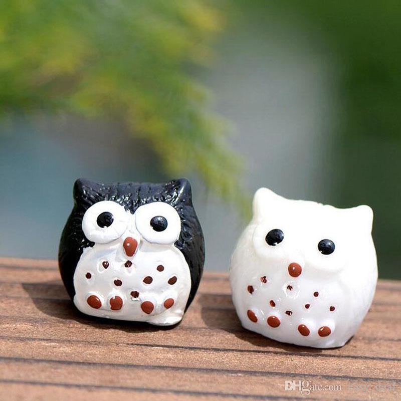 Fée Jardin Miniature Mignon Hibou 5 Couleurs En Option Artificielle Mini Oiseau Décors Résine Artisanat Bonsaï Décoration ZA5828
