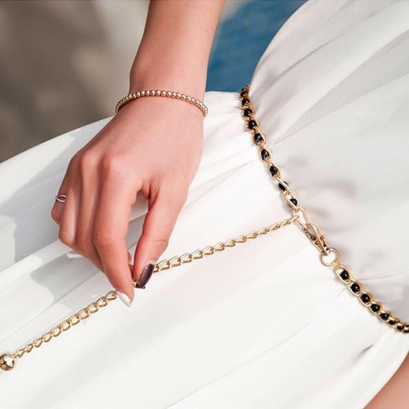 Compre Boutique De Moda Nuevo Vestido Decorativo Cinturones Gran Metal Para  Mujeres Cuentas Con Cuentas Trenzado Cintura Cadena Perla Cinturón Cadena A  ... 0b941c0f11dd