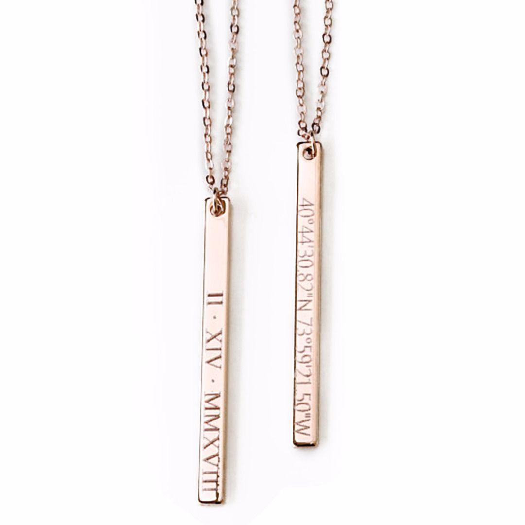Wholesale Vintage Name Date Bar Necklace Fashion Men Women DIY Personalized  Custom Engraved Statement Necklaces   Pendants Jewelry Cheap Pendant  Necklaces ... 6eb076ecfe