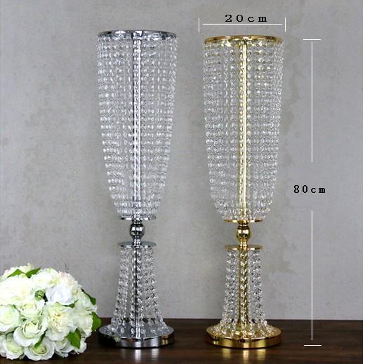 80 cm Tall Akrilik Kristal düğün Centerpiece yol kurşun standı yemeği Parti masa Dekorasyon şamdan 10 takım