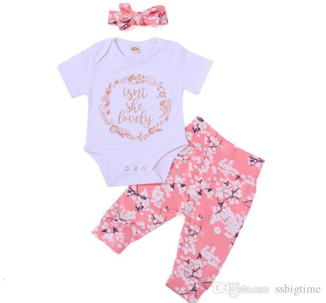 3805df59fb2c 2018 Girls Baby Rompers Clothing Sets White Toddler Romper Pants ...