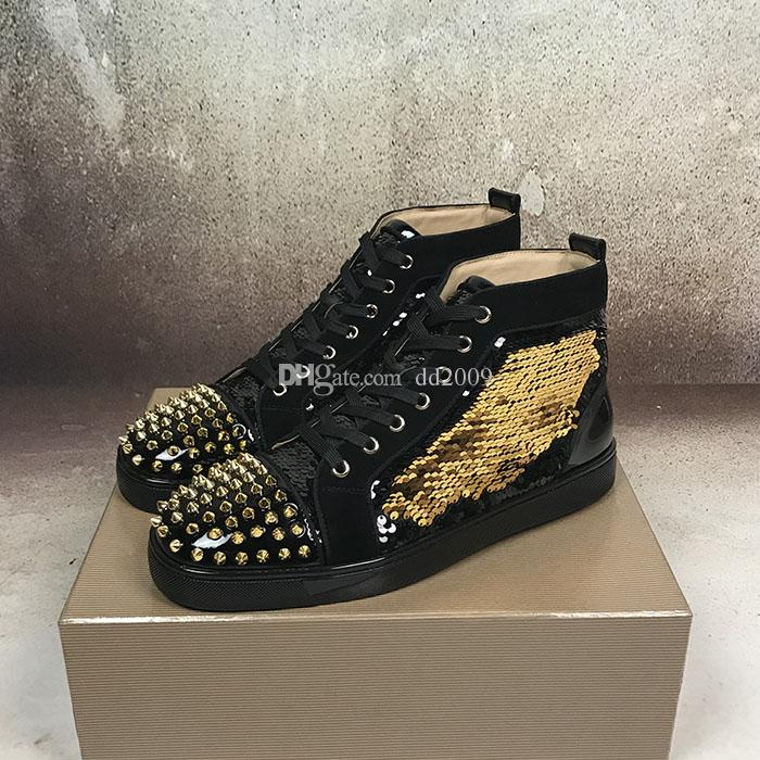 15bdb736e2e2 2018 New Luxury Black Gold Glitter Sequins Red Bottom Shoes Designer High Top  Spikes Toe Genuine Leather Flats Party Wedding Sneakers Cheap Shoes Online  ...