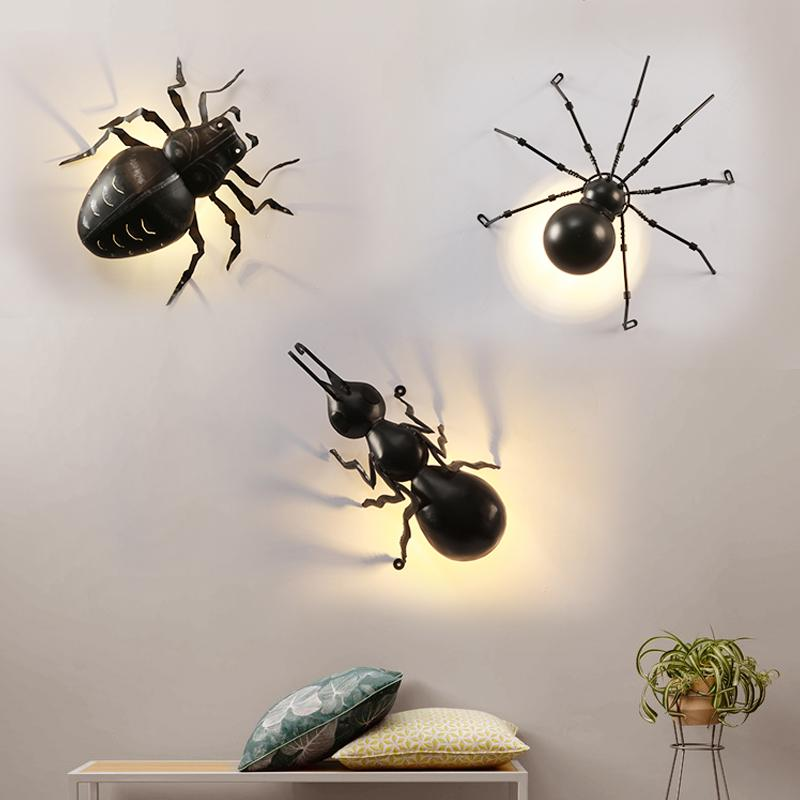 Acquista Modern Spider Ant Applique Da Parete Black Iron Art Led G9