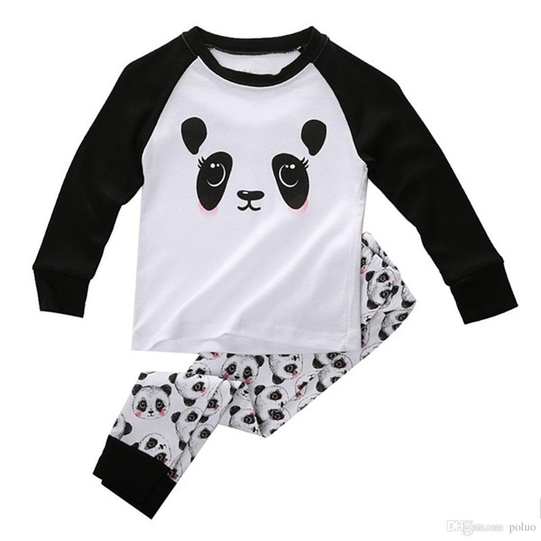 def35a04e443 Cute Panda Baby Toddler Kids Boys Girls Sleepwear Nightwear Pajama Set  Girls Shorts Pyjamas Footie Pajamas Kids From Poluo