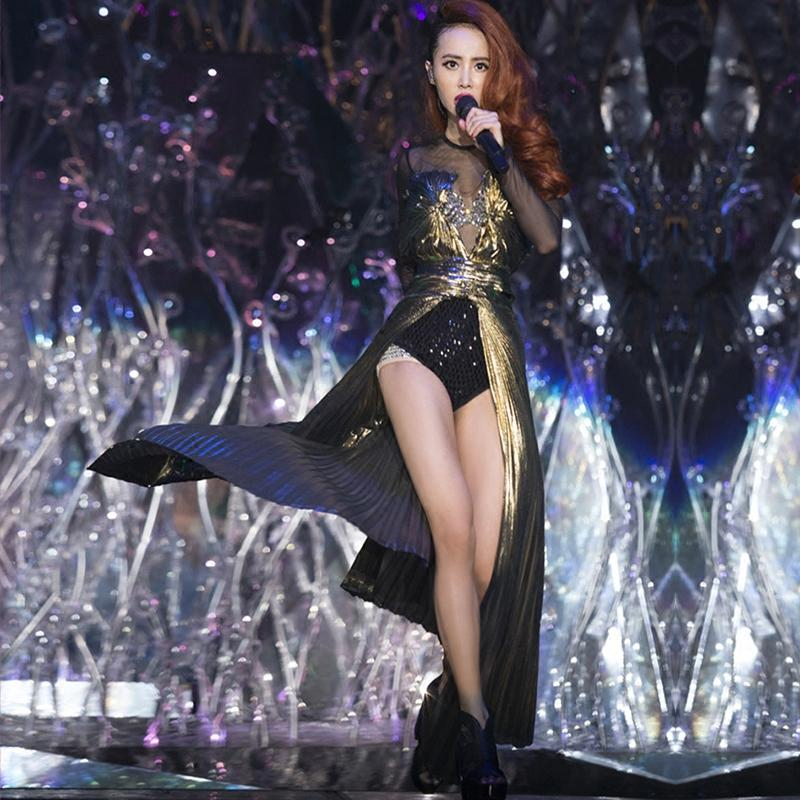 New Female Dj Stage Costumes For Singers Nightclub Costumes Ds Show Star  Sequins Network Woman Stage Outfit With Golden Tail