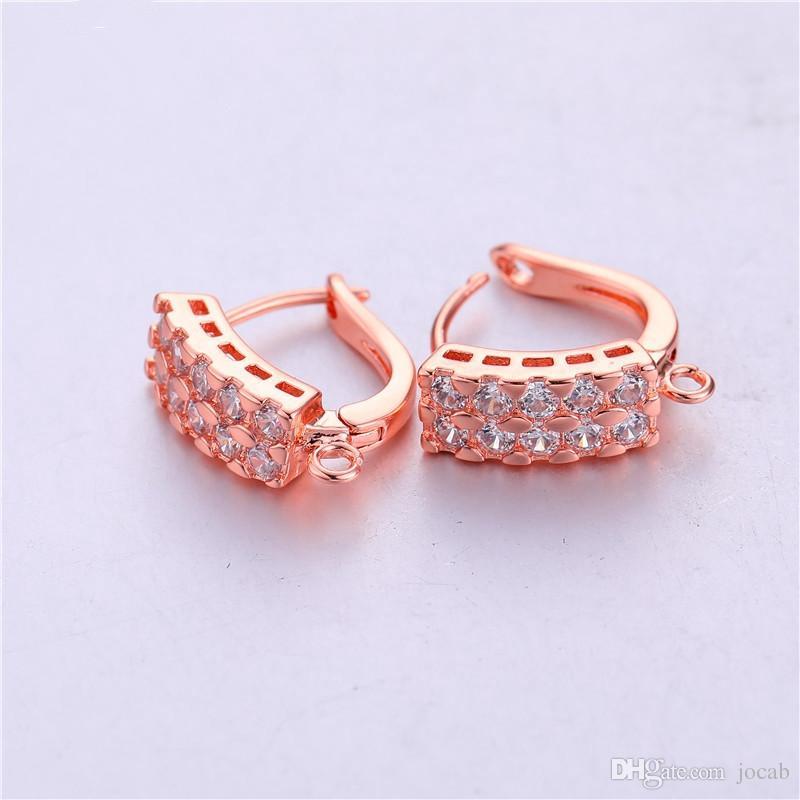 Wholesale Handmade DIY Jewelry Accessories Copper Metal Crystal Hoop Earrings Accessories for Ear Cuff Earrings Fit Findings
