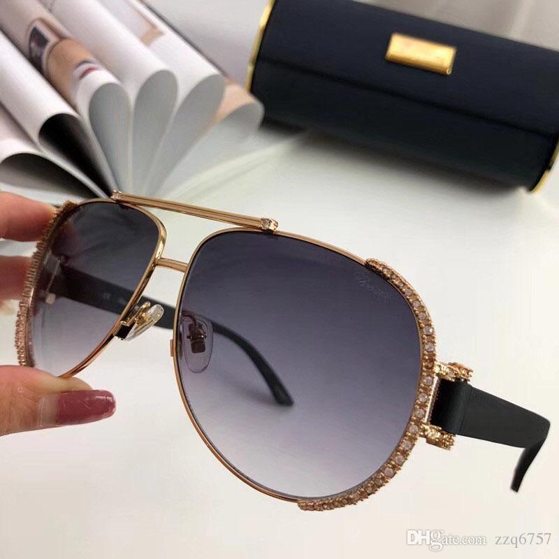 5b113f258 Compre Nova Designer De Moda Óculos De Sol 66 S Placa Piloto Combinação De  Diamante Com Armação De Metal Estilo Popular Qualidade Superior UV 400  Óculos De ...