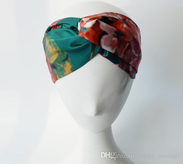 2019 kadın kafa çiçek kuş luxuryes marka kafa moda kadın kız bantlar ipek mektup Elastik Çapraz hairband