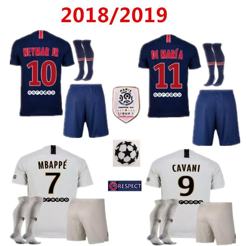 Compre Novo 18 19 Psg Kits Casa Azul Branco Camisas De Futebol Branco  CAVANI Survetement Maillot De Pé Mbappe VERRATTI Paris Uniformes De Futebol  Conjuntos ... 80235e0d96ae1