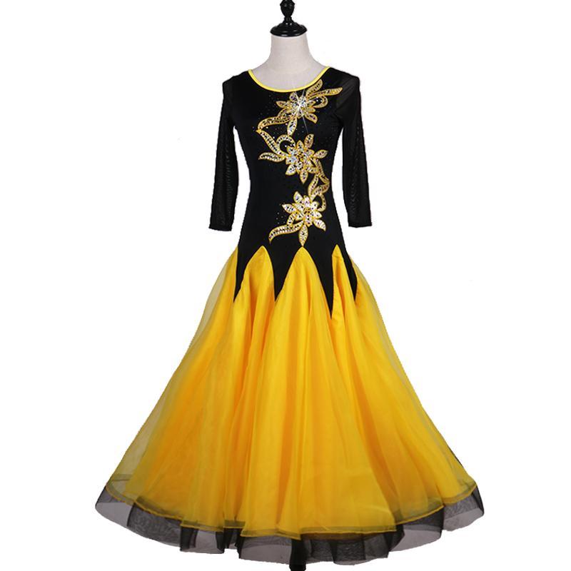 purchase cheap 58400 d1c73 Standard Ballsaal Kleid Ballroom Dance Competition Kleider Flamenco Kleid  gelb mit großen schiere Pailletten Applikationen