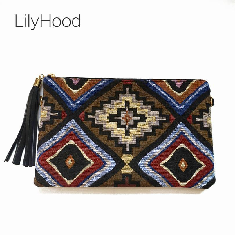 LilyHood Female Vintage Clutch Gypsy Bohemian Boho Chic Hippie Aztec Tribal  Indian Retro Folk Woven Fabric PU Leather Clutch Bag Hobo Handbags Handbags  ... 14c7e91e9d00b