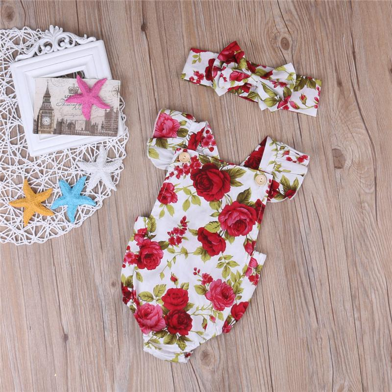 Newborn baby girl clothes summer flower romper jumpsuit onesies +headband kid clothing boutique outfits babies girls toddler 0-24M