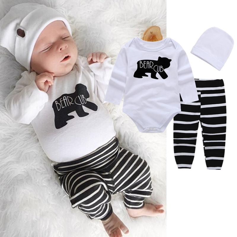 11bee4fe4 2019 Infant Baby Boys Toddler Romper+Striped Pants+Hat Set Outfit ...