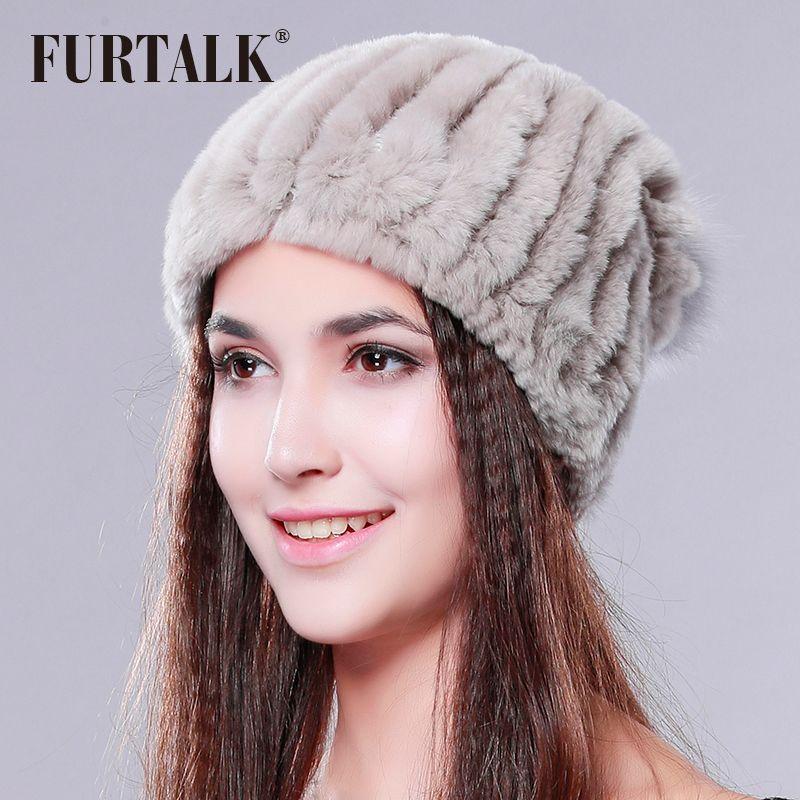 FURTALK Real Rex Rabbit Fur Hat Women Winter Fur Pom Pom Hat Fashion Winter  Beanie Boo Trucker Hats From Zebrear 4ed0d00cfe6