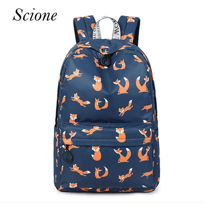 4edbbd2457b7 Fashion School Backpack High Quality Waterproof Women Backpack Cute Fox  Pattern Animal Printing Bag Pack Travel Laptop Bag One Strap Backpack  Backpacking ...