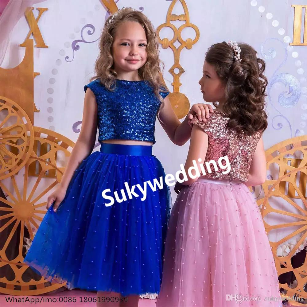 7e21cd6b8242 Two Pieces Little Girls Prom Dresses Sequin Top Jewel Neck Kids Birthday  Party Gowns With Pearls Flower Girls Pageant Dresses Knee Length Girls  Dresses For ...