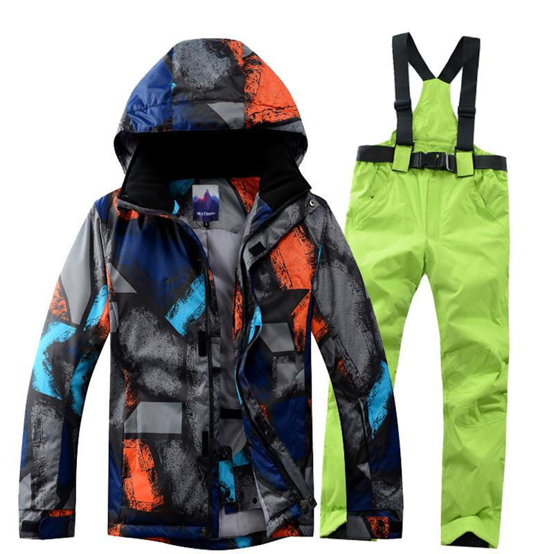 Compre Traje De Esquí Para Hombre Invierno 2018 Ropa Térmica A Prueba De Viento  Impermeable Pantalones Para La Nieve Chaqueta De Esquí Conjunto Para Hombre  ... 9356cb63447