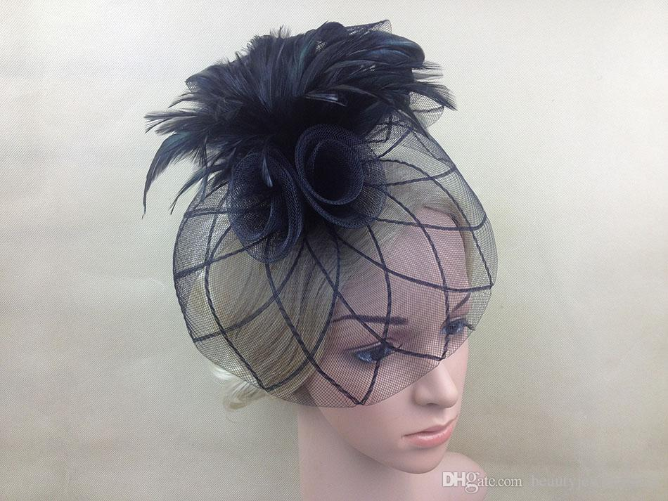 Women's Hats with Net Elegant Wedding Hair Accessories Flowers Black Hats for Party Feathers Hats Women's Hair Decoration H10