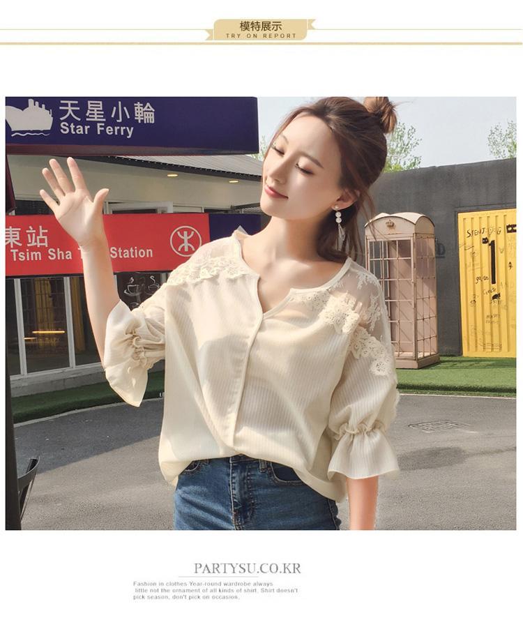 Camicie delle donne di modo di estate 2017 Mezze maniche Chiffon in pizzo allentato con scollo a V Breve paragrafo imposta elegante / camicia camicia camicetta 737