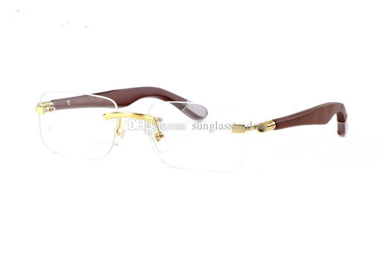 f34af318b3 Rimless Large Wooden Leg Golden Teas Wooden Legs Sunglasses Retro Men Half  Frame Screw Big Wooden Leg Sunglasses Box Round Glasses Designer Glasses  From ...