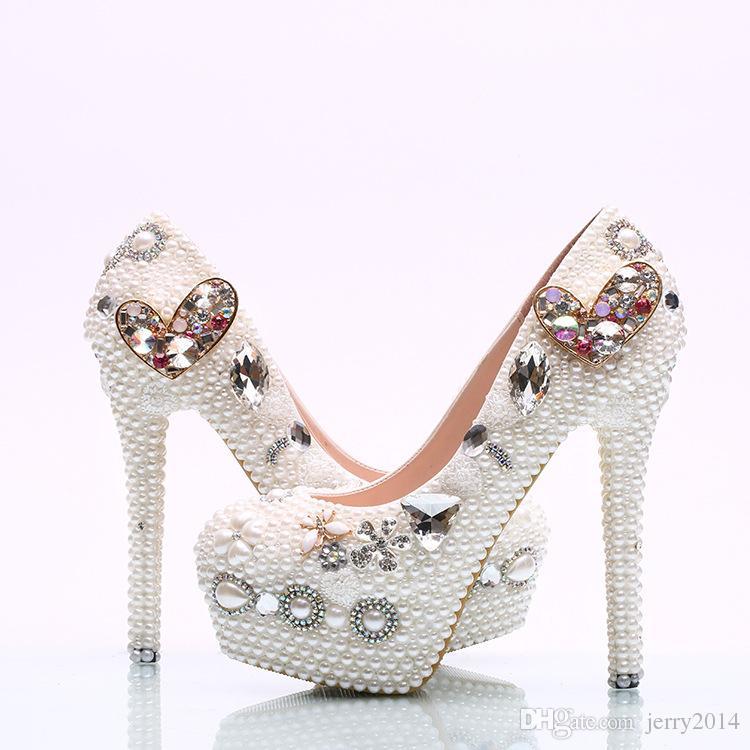 7bb7d0a6fcfa New Fashion Crystal Love Platform High Heels White Pearls Wedding ...