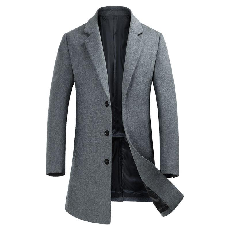d4a5f90d8e5 2019 Mens Woolen Trench Coats 2018 Autumn Winter Long Wool Trench Coat Men  Slim Fit Single Breasted Pea Coat Casual Jackets Overcoat From Beautyjewly,  ...