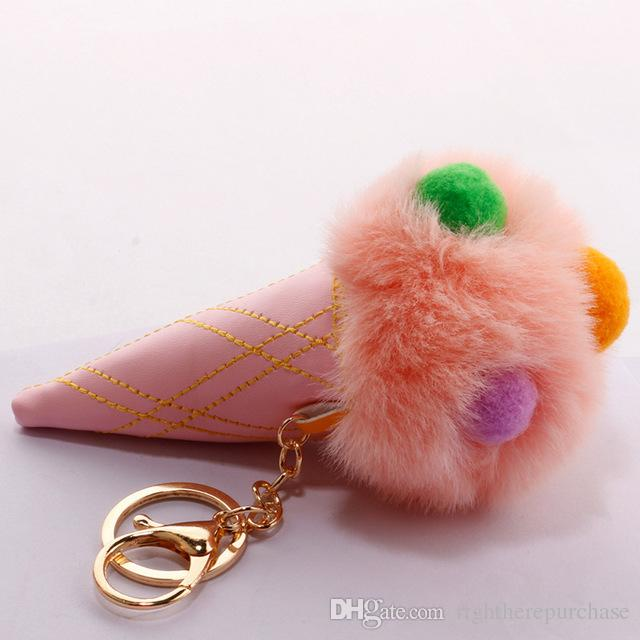 Fluffy Rabbit Fur Ball Pu Leather Pompom Plush Ice Cream Car Key Chains Women  Keyring Bunny Key Cover Trinket Bag Accessories Photo Keychain Cute  Keychains ... e19d0b460e