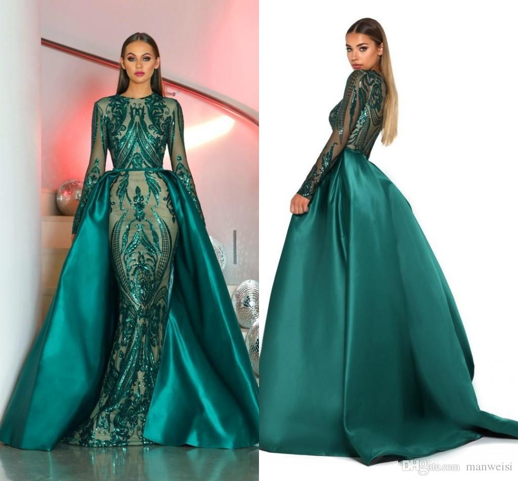 08f44ab0 Saudi Arabia Long Sleeves Mermaid Evening Dresses 2018 Dubai Kaftan Muslim  Emerald Green Glitter Sequined Formal Prom Party Gowns Old Fashioned Prom  Dresses ...