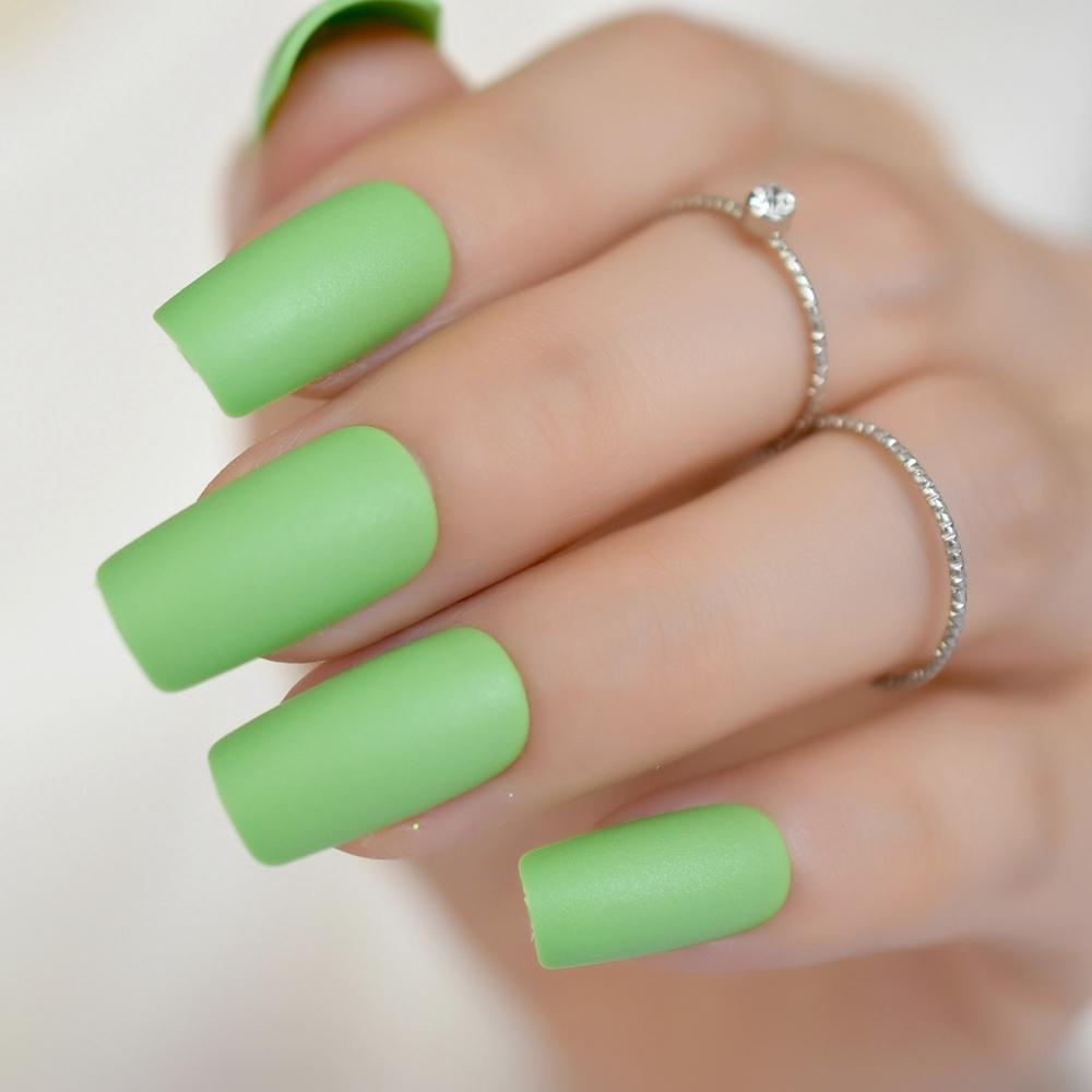 Fashion Long Flat Acrylic Nails Green False Nails Tip Diy Nail Art
