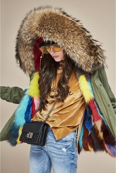Women coats Brown raccoon fur trim Jazzevar brand multicolour fox fur lined army green canvas mini parka with YKK zipper warm parkas