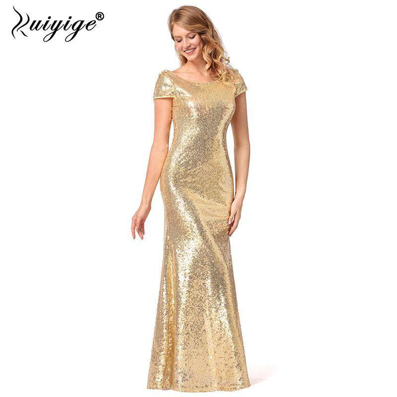 f58e190fe368b Ruiyige Sexy Gold Sequined Party Long Dress EleSolid Backless Sequin Women  Dresses 2018 Maxi Mermaid Vestidos De Festa