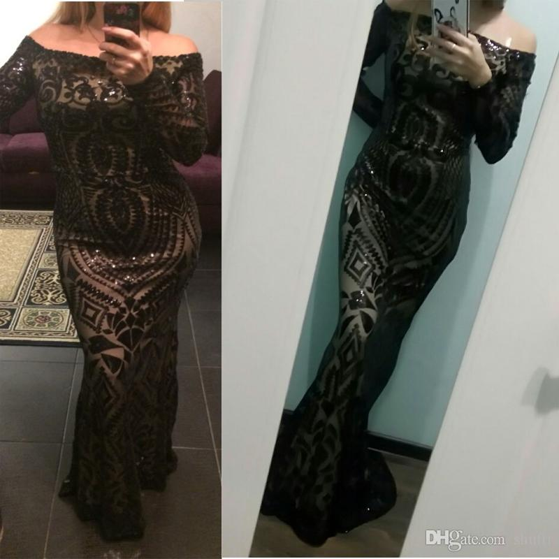 Sexy Prom Dresses 2018 Slash Neck Off Shoulder Sequined Party Dresses Floor Length Full Sleeved Bodycon Black Maxi Dress Evening Gown