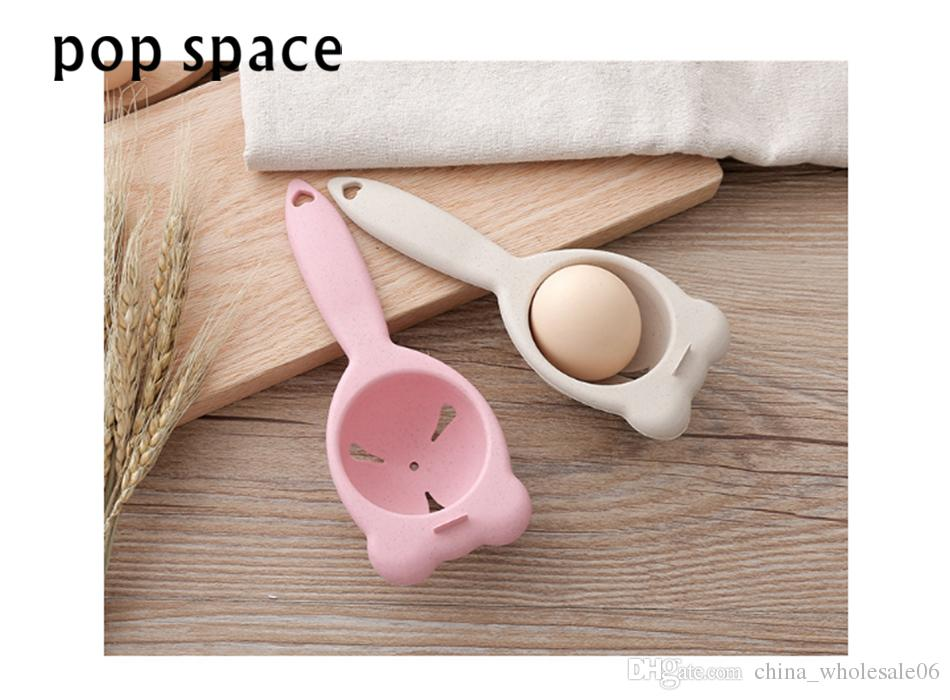 pop space New wheat straw Mini Egg Yolk White Separator Kitchen Cooking Gadget Sieve Tool White Egg Separator