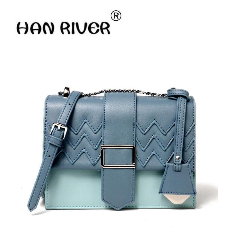 fa06d7d9c3 HANRIVER 2018 New Style Genuine Leather Ladies Fashionable Simple Single  Shoulder Slanted Hit Color Small Square Bag Relic Purses Fashion Bags From  Roseyy